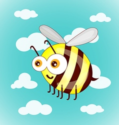 Cartoon cute bees on sky with clouds vector