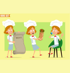 Cartoon flat chef cook girl character set vector