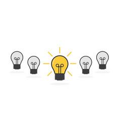 Cartoon lamps bulb light icon - idea sign vector