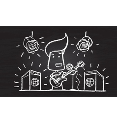 Chalked character with guitar vector