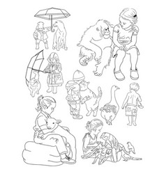 children with pets line art vector image