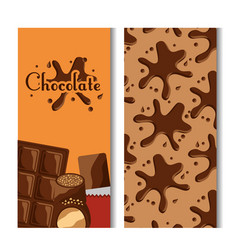 chocolate bar and splash candies banners vector image
