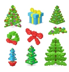 Christmas deoration symbold 3d isometric flat vector