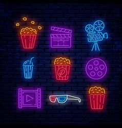 cinema bright neon signs vector image