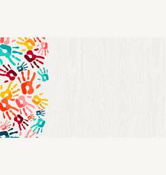 Color hand print paint background art vector