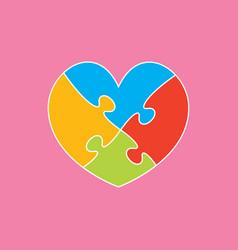 color piece puzzle of romantic heart four pieces vector image