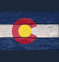 Colorado state flag on old timber vector
