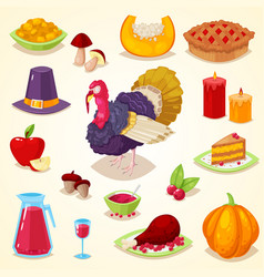 colorful cartoon object for thanksgiving day vector image