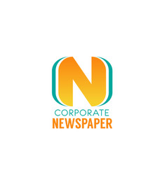 corporate newspaper letter n icon vector image