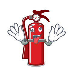 Crazy fire extinguisher mascot cartoon vector