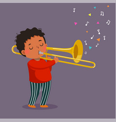 Cute boy playing trombone on purple background vector
