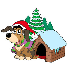 cute christmas dog vector image