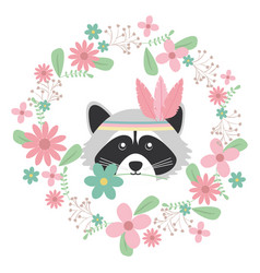 Cute raccoon with feathers hat and floral vector