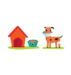 Dog and dog-house flat vector