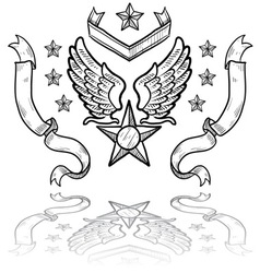 Doodle us military insignia airforce vector
