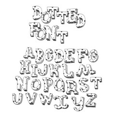 dotted abc letters hand drawn with ink and vector image