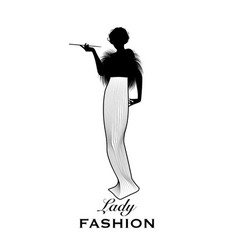 Elegant and stylish woman silhouette wearing old vector