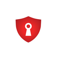 elegant red shield with keyhole vector image