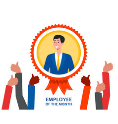 Employee month badge with cartoon vector