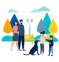 Family on holiday in park with a dog vector