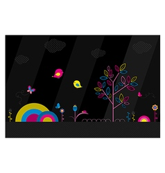Fantasy park on black background vector