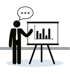 Figure businessman with paperboard training vector