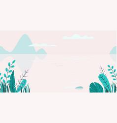 flat background spring sunset landscape vector image