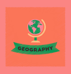 Flat shading style icon geography lesson vector