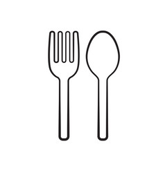 fork and spoon silhouette icon vector image