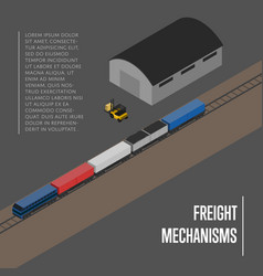 freight mechanisms isometric banner vector image