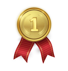 golden realistic medal with red ribbons isolated vector image