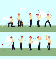 golfer man standing in different poses cartoon vector image