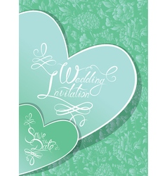 green wedding invitation 380 vector image