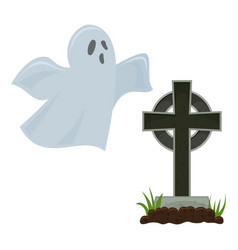 Halloween grave and ghost vector