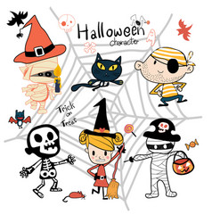 Hand drawn halloween trick or treat character cute vector