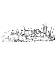 Hand drawn of house on hill vector