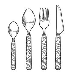 hand drawn sketch set cutlery with wooden vector image