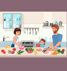 Happy young family cooking father mother and vector