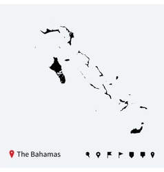 High detailed map of Bahamas with navigation pins vector