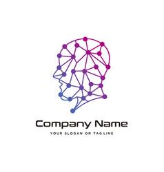 Human head technology logo design modern template vector