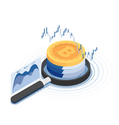 isometric bitcoin over magnifying glass with vector image