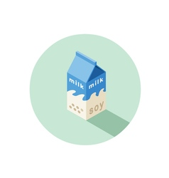 Isometric of soy milk box vector