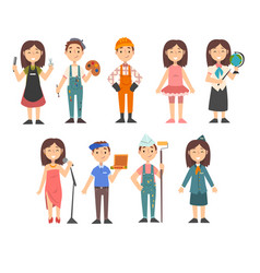 kids various professions set hairdresser vector image