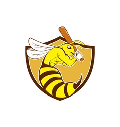 Killer bee baseball player bat crest cartoon vector