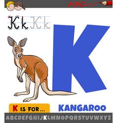 Letter k from alphabet with cartoon kangaroo vector