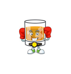 Liquor whiskey in cartoon character boxing vector