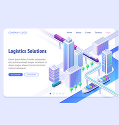 Logistics solutions isometric landing page banner vector
