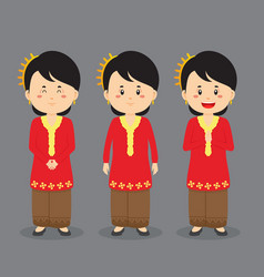 Malaysian character with various expression vector