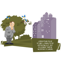 man listens to birdsong in park vector image