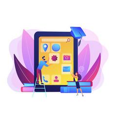 Mobile app development courses concept vector